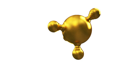 3D illustration of abstract gold molecule background. Zdjęcie Seryjne