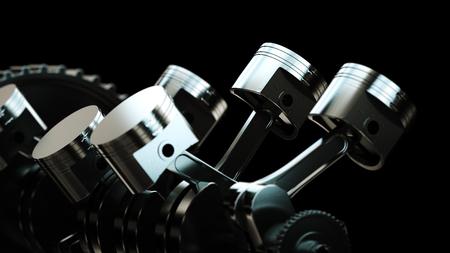 Illustration 3D du moteur. Pièces de moteur comme vilebrequin, pistons, engrenages Banque d'images