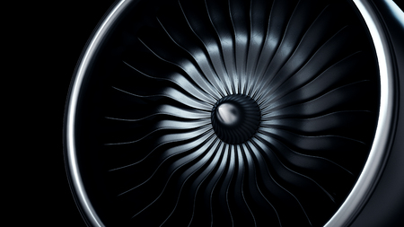 3d Illustration of jet engine, close-up view jet engine blades