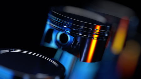 Engine pistons on technology background. 3d illustration Stock Photo