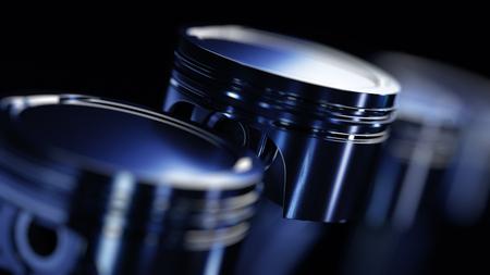 Illustration 3D du moteur. Pièces de moteur comme vilebrequin, pistons en mouvement Banque d'images