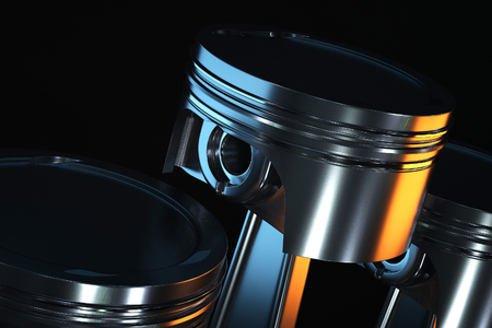 3d illustration of piston on a dark background. Zdjęcie Seryjne