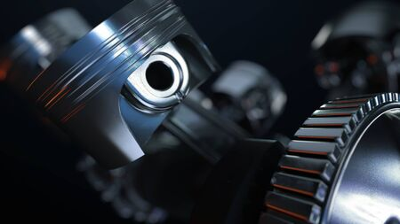 3D illustration of car engine, concept of modern vehicle motor with metal, chrome parts, heavy industry