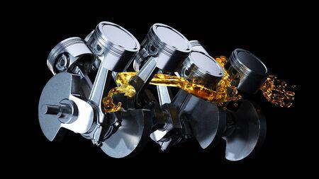 Części silnika jak wał korbowy, tłoki z rozbryzgami oleju silnikowego.