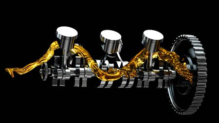 Motor parts as crankshaft, pistons with motor oil splash.