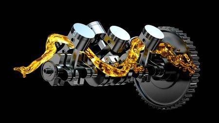 Motor parts as crankshaft, pistons with motor oil splash. Zdjęcie Seryjne