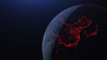 3d iillustration of globe with  virus Spreads in Asia