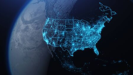 3D illustration of USA and North America from space at night with city lights showing human activity in United States Zdjęcie Seryjne