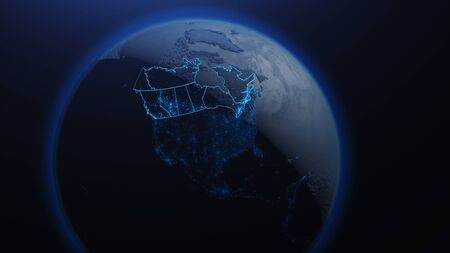 3D illustration of Canada and North America from space at night with city lights showing human activity in United States