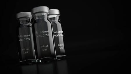 3d illustration of vaccine injection bottle. Zdjęcie Seryjne