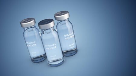 3D illustration of medical ampoules with influenza vaccine