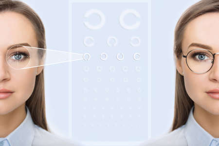 female face, cut in half to present before and after checking vision. Woman face without glasses and with glasses , on background virtual holographic eye chart. Eye exams concept Standard-Bild