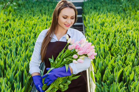 beautiful young woman with a perfect smile, holding a large bouquet of tulips, looking at the flowers , standing in a greenhouse