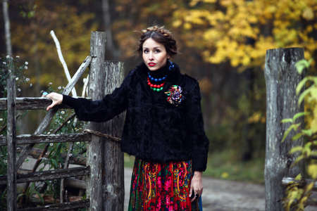 gipsy: Magnificent charming gipsy woman staying outdoor  Stock Photo