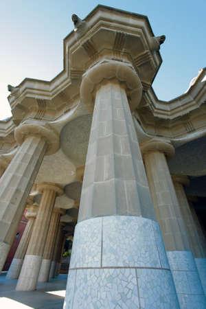 colonade in guell park barcelona gaudi architecture