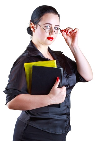 sexy teacher: The woman in glasses with books isolated on a white background Stock Photo