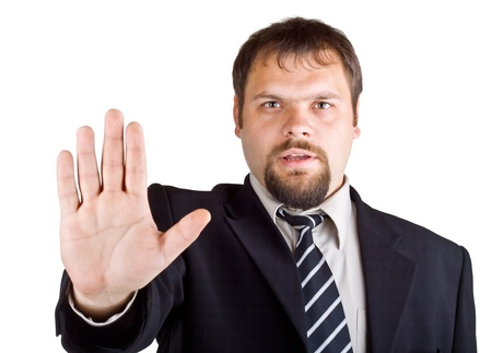 unyielding: Man denies gesture, isolated on white background Stock Photo