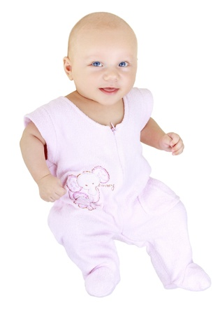 Small smiling baby in a pink dress on a white background Stock Photo - 10747688