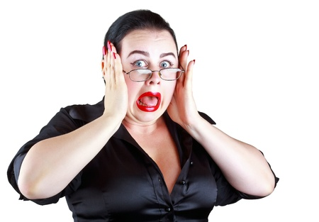 woman open mouth: A woman in a panic isolated on a white background Stock Photo