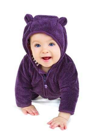 bebe gateando: Beb� que se arrastra, aisladas sobre fondo blanco