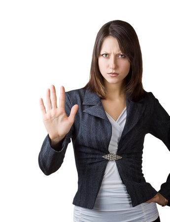 Business woman showing a gesture stop, isolated on white background