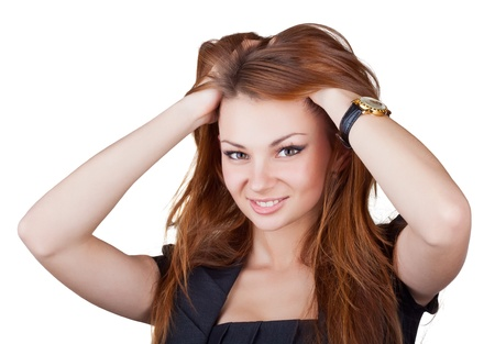 girl with a wristwatch: Beautiful girl straightens her hair, isolated on white background Stock Photo