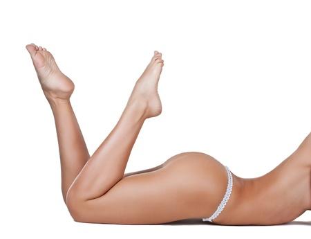 Beautiful female body, isolated on white background