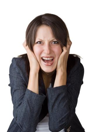 desesperado: Mujer de negocios gritando, aisladas sobre fondo blanco
