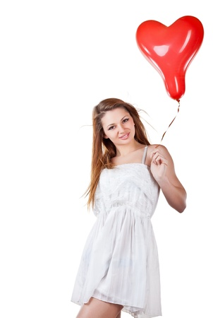 saint valentines day: Love woman holding heart balloon, isolated on white background