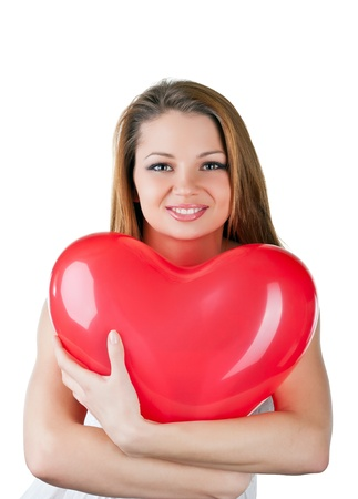 Beautiful woman with air balloon like heart, isolated on white background