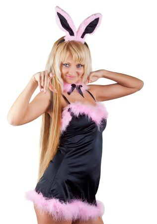 Playboy girl with rabbit ears, isolated on white background photo