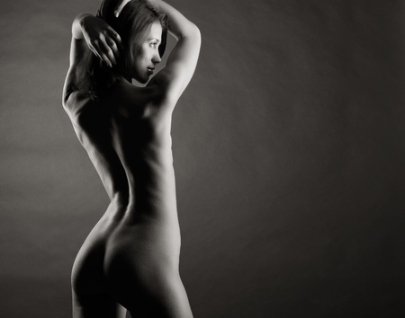 Beautiful naked female body. Black and white photo. Stock Photo - 11979619