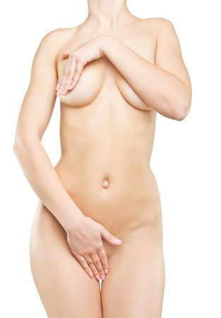 Beautiful naked female body, isolated on white background