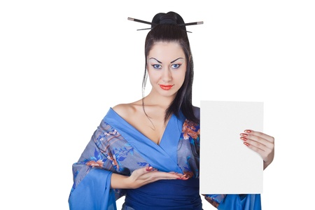 chinese dress: Beautiful woman in a kimono with blank billboard isolated on white background