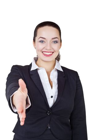 Business woman gives a handshake isolated on white background photo