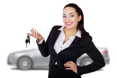 car keys: Portrait of beautiful business woman with car keys Stock Photo