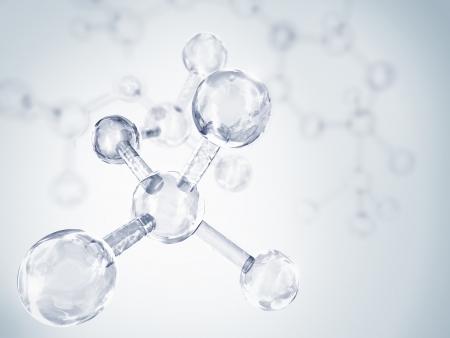 zuurstof: De blauwe en witte achtergrond met transparante moleculen Stockfoto