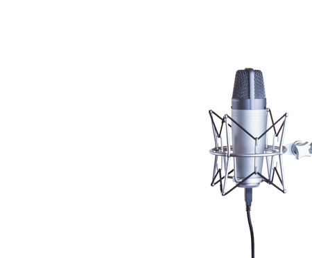condenser: Condenser microphone with copy space isolated on a white background
