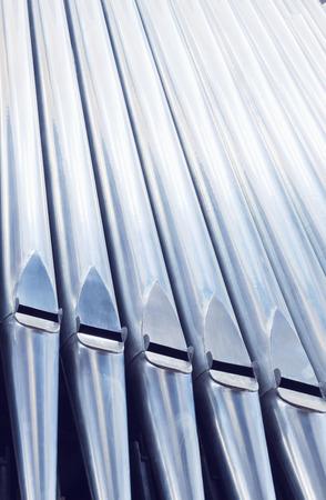 Close-up pipe organ in church Standard-Bild
