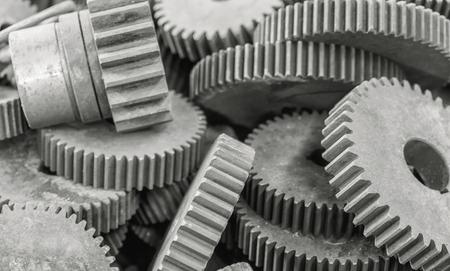 interlink: Close-up of interlocking industrial metal gears
