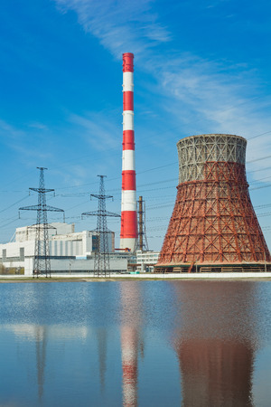 exhalation: Thermal power stations and power lines on a clear day Stock Photo