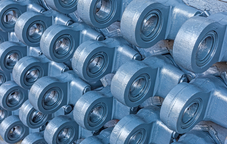 industrie: Many heads of hydraulic cylinders Stock Photo