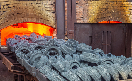 Sintering of parts in the furnace at the plant