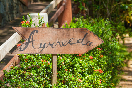 A sign in the garden of Ayurveda in Sri Lanka