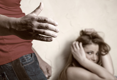 abuse young woman: Victims of domestic violence Stock Photo