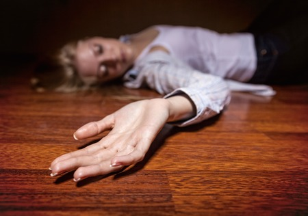 fear woman: The dead womans body. Focus on hand