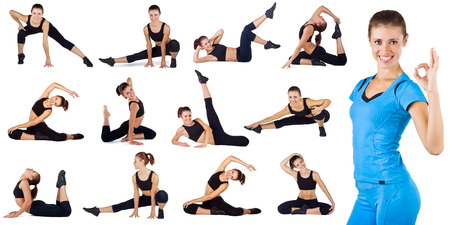 Collage of different fitness exercises isolated on a white background Stock Photo