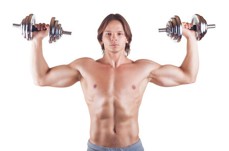 powerfully: Muscular man with dumbbells isolated on white background Stock Photo