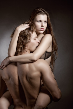 naked couple: Pares atractivos amor Foto de archivo