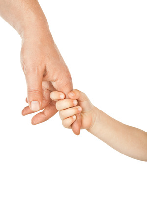 Father giving hand to a child isolated on white background Foto de archivo